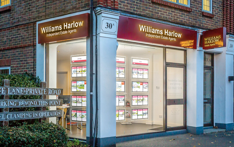Exterior of Williams Harlow Estate Agents in Cheam.
